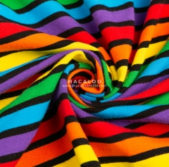 In stock textile rainbow stripe dyed yarn cotton lycra fabric
