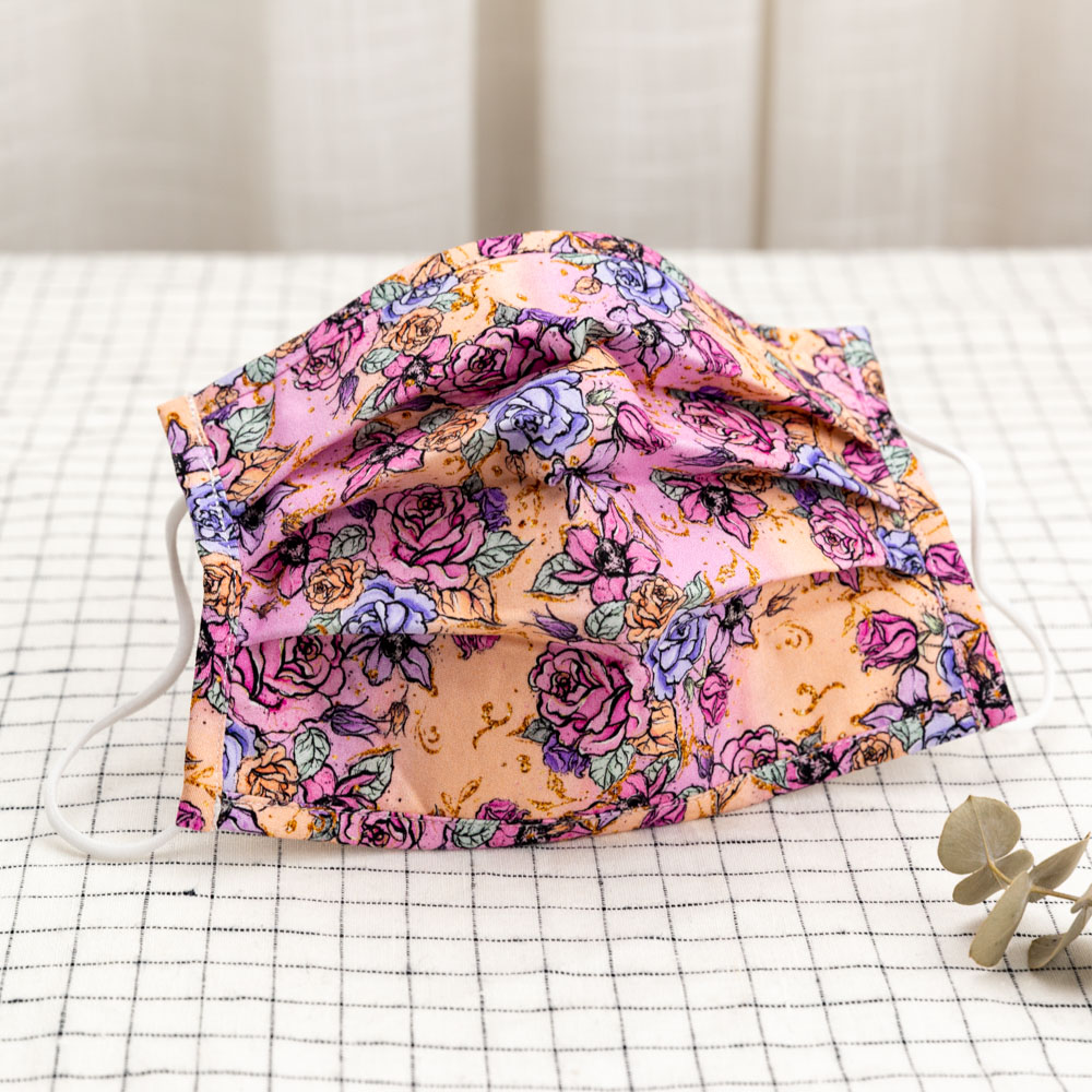 Fashion digital printing flower pattern reusable 3 layers 100 woven cotton cloth mouth mask for kids