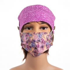 Custom well made glitter digital printing stretch cotton fabric ear saver button face mask headbands